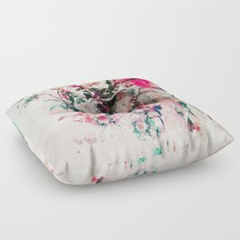 Watercolor Elephant and Flowers Floor Pillow