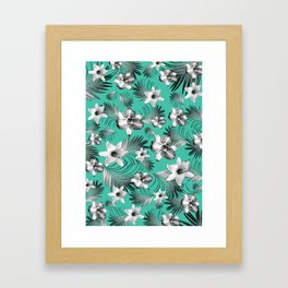Tropical Flowers Palm Leaves Finesse #5 #tropical #decor #art #society6 Framed Art Print
