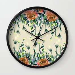 Hand painted modern ivory orange brown watercolor floral Wall Clock