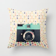 Blue Diana Mini Camera - Retro Vintage Photography Throw Pillow