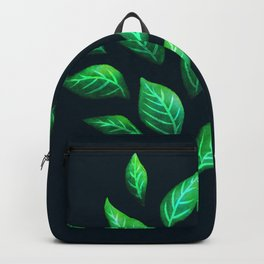 Dark Abstract Green Leaves Backpack