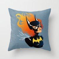 batgirl Throw Pillows featuring Batgirl by Станислава Коробкова