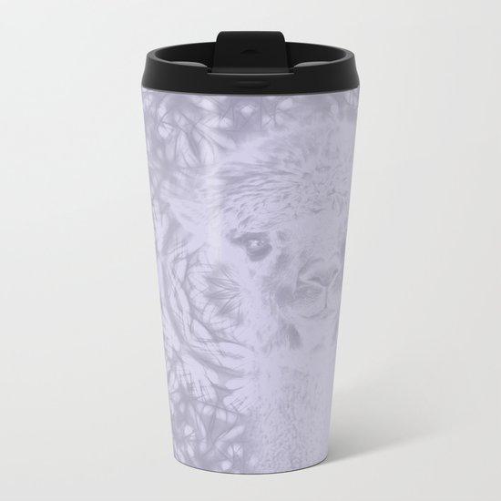 Ghostly alpaca and Lilac-gray mandala Metal Travel Mug