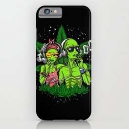 Aliens Hippies Smoking Weed Cannabis iPhone Case