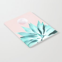 Stellar Agave and Full Moon - pastel aqua and pink Notebook