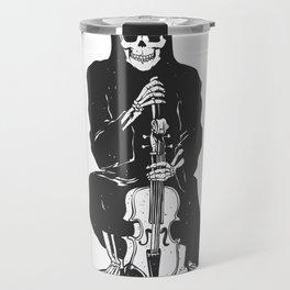 Violinist skull - grim reaper - cartoon skeleton - halloween illustration Travel Mug