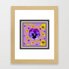 AMETHYST PANSIES YELLOW BUTTERFLIES & FLOWERS Framed Art Print