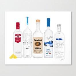 Vodka Bottles Illustration Canvas Print