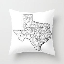 Texas White Map Throw Pillow