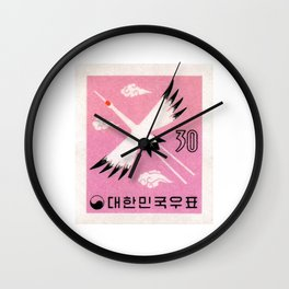 1960 KOREA Red Crowned Crane Postage Stamp Wall Clock