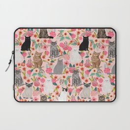Cat floral mixed breeds of cats gifts for pet lovers cat ladies florals Laptop Sleeve