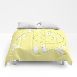 The Funny Bunnies in Lemon Yellow Comforters