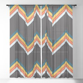 Classy Retro Stripes Pattern Suleviae Sheer Curtain