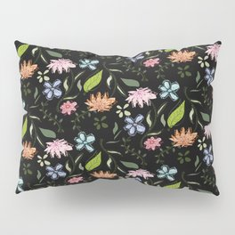 Flowery black Pillow Sham