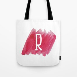 Letter R Pink Watercolor Tote Bag