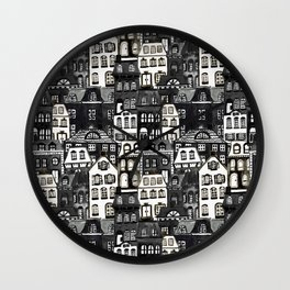 Mansard Village in Black + White Watercolor Wall Clock
