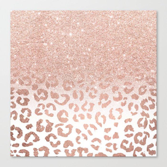 Trendy Modern Faux Rose Gold Glitter Ombre Leopard Pattern