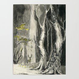 Mystical forest, silhouette of a deer on background. Pen and ink drawaing Poster