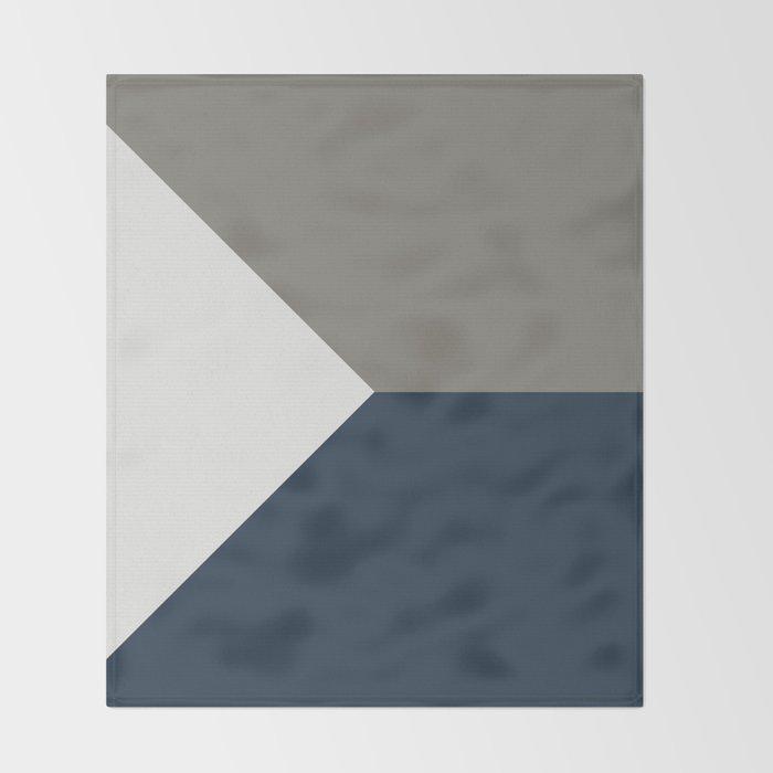 Blue Grey White Abstract Geometric Art Throw Blanket