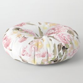 Vintage & Shabby Chic - Antique Sepia Summer Day Roses And Peonies Botanical Garden Floor Pillow