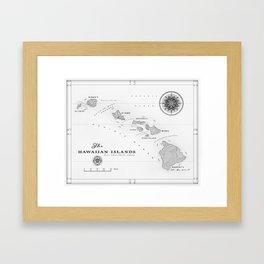 The Hawaiian Islands [Black & White] Map Print Framed Art Print