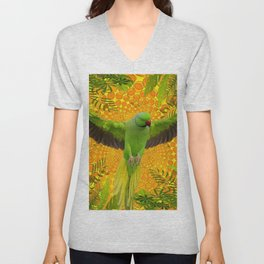 MAGNIFICENT GREEN PARROT GOLD JUNGLE MODERN ART Unisex V-Neck