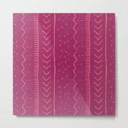 Moroccan Stripe in Magenta Metal Print