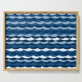Classic Blue Wave Pattern Serving Tray