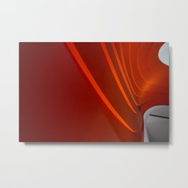 White and Red with lines Metal Print