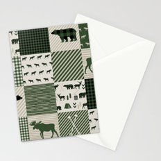 Camping hunter green plaid quilt cheater quilt baby nursery cute pattern bear moose cabin life Stationery Cards