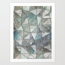 Teal And Grey Triangles Stained Glass Style Art Print