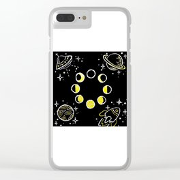Gold Ink Space Themed Design Clear iPhone Case