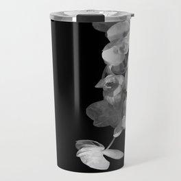 White Orchids Black Background Travel Mug