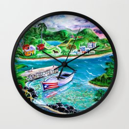 Isla del Encanto - Heart of the Island Wall Clock