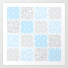 Patchwork swirls and spots Art Print