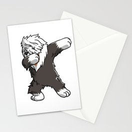 Funny Dabbing Old English Sheepdog Dog Dab Dance Stationery Cards