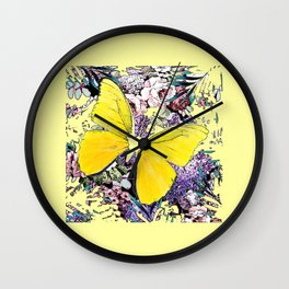 CONTEMPORARY YELLOW  BUTTERFLY FLOWER FLORAL DRAWING Wall Clock