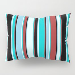 Brown, Dark Turquoise, Light Cyan, Sky Blue, and Black Colored Lines/Stripes Pattern Pillow Sham