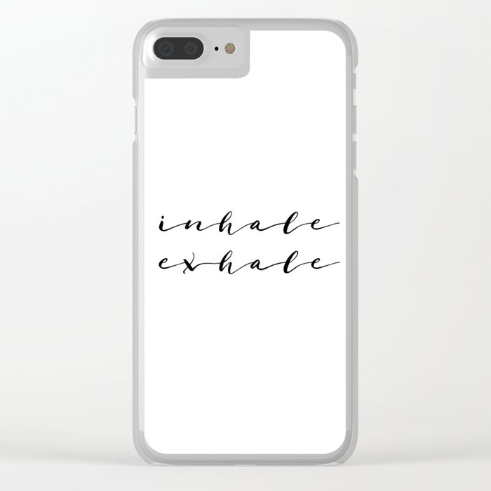 Yoga Print Relax Print Inhale Exhale Just Breathe Meditation Art Yoga Quotes Yoga Art Inspirational Clear iPhone Case