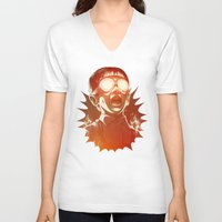 gold V-neck T-shirts featuring FIREEE! by Dr. Lukas Brezak