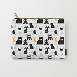 Woodland Animals Geometric Carry-All Pouch