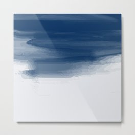 Blue abstract brush strokes pattern Metal Print