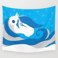 bride Wall Tapestries featuring Horse Bride by Dragonroseworks247