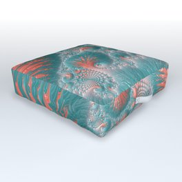 Abstract Coral Reef Living Coral Pastel Teal Blue Texture Spiral Swirl Pattern Fractal Fine Art Outdoor Floor Cushion