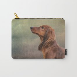 Dog breed long haired dachshund portrait oil painting Carry-All Pouch