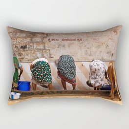 Indian Women and Cow Rectangular Pillow