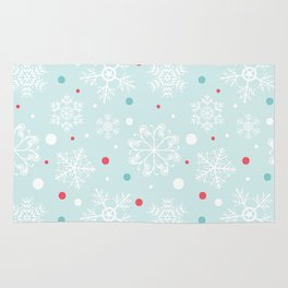 Christmas Snowflakes with Red and Blue Polka Dots Pattern Rug
