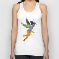 tinker bell Tank Tops featuring Tinker bell in watercolor by Paulrommer