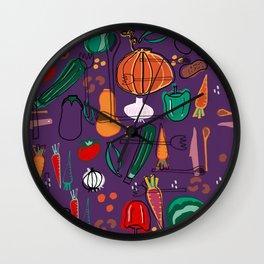 fall veggies purple Wall Clock