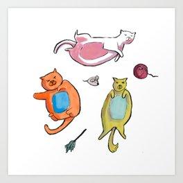 Fat Cat White Art Print